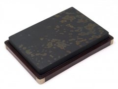 水坑 歙州 金星金暈板硯  9.6インチ