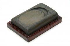 【一品物】未央瓦硯 緑石 5.4インチ