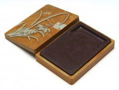 紫松花石 長方蘭花石匣硯 5インチ
