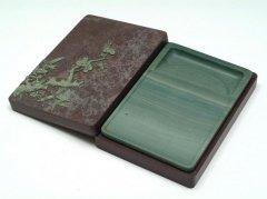 松花江緑石 梅竹長方石匣硯 5インチ 雍正年製