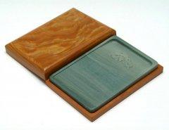 松花江緑石 木紋褐色石匣硯 5インチ