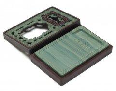 松花江緑石 鏤空雕刻石匣硯 5インチ