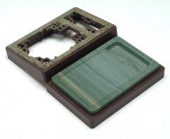 松花江緑石 龍紋石匣硯 5インチ