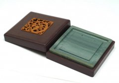 松花江緑石 龍珠紋石匣方硯 5インチ