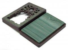 松花江緑石 雙龍銜璧紋石匣硯 6.5インチ
