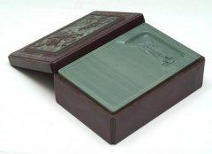 松花江緑石 雲雙龍暖硯 石匣硯 6インチ