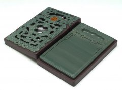 松花江緑石 慶獣紋石匣硯 6.5インチ