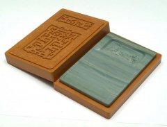 松花江緑石 饕餮紋石匣硯 7インチ