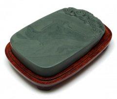 洮河緑石硯 5.6インチ 雲刻楕円硯