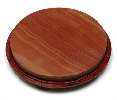 紅絲石 円硯平板 6.7吋 鏡面仕上