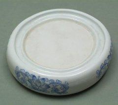 陶硯 青花丸硯 6吋