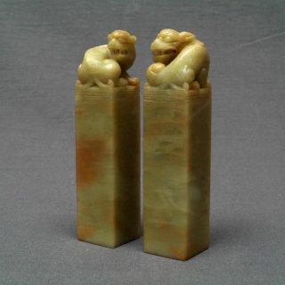 【規格品】 印材 紐付青田純白石 2.4cm二課