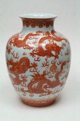 景徳鎮   釉裡紅果瓶 【一品物】