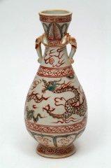 景徳鎮   紅緑彩双象龍瓶 【一品物】