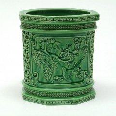 景徳鎮 緑釉花鳥図筆筒