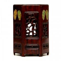 紅木玉石象嵌六角筆筒