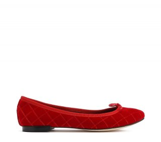 repetto(レペット) CENDRILLON BALLERINA QUILTED VELVET FLAMMY RED [WOMEN]