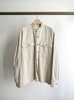 unfil(アンフィル) COTTON-DENIM TWILL BAND COLLAR WORK SHIRT