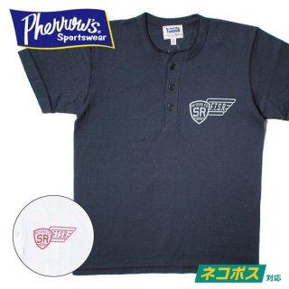 [ネコポス送料200円]フェローズ PHERROWS ヘンリーネック プリント Tシャツ FTSR 19S-PHNT-P3
