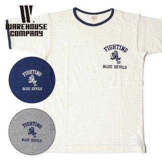 ウエアハウス WAREHOUSE プリント リンガー Tシャツ BLUE DEVILS 4059