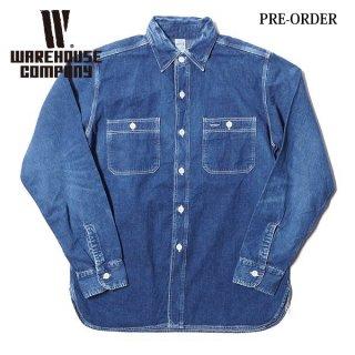 【予約商品】ウエアハウス セカンドハンド セコハン デニムワークシャツ 2ND HAND DENIM WORK SHIRTS USED WASH WAREHOUSE