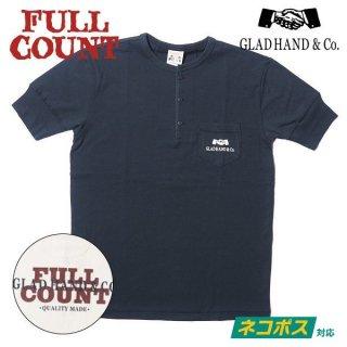 [ネコポス送料200円]フルカウント×グラッドハンド コラボ ヘンリーネックTシャツ FCGH LOGO HENLEY T SHIRT GHT-002 GRAD HAND FULLCOUNT