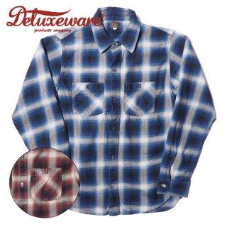 デラックスウエア スルーサージ オンブレーチェックシャツ THROUGH OMB CHECK LV-18 DELUXEWARE