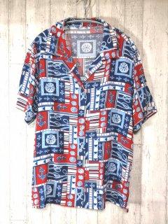 レトロ柄半袖オープンカラーシャツ マリン 開襟シャツ レディース/blue 青 古着