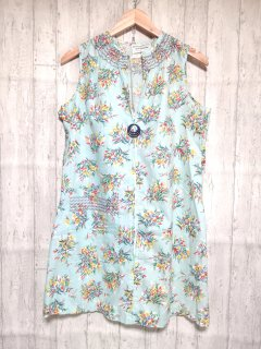 JCPenney 花柄リングジップノースリーブワンピース/M ブルー系 水色