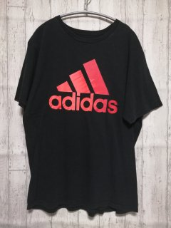 古着 adidasビッグロゴTシャツ/L black 黒 スポーツ