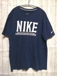 古着 NIKEビッグロゴTシャツ/L navy 紺 ナイキ スポーツ 90s