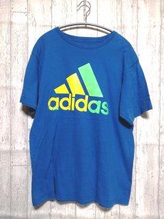古着 adidasビッグロゴTシャツ アディダス/L blue 青 ブルー