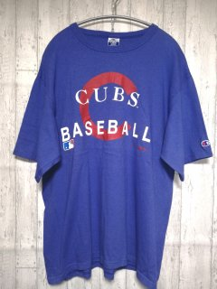 champion Tシャツ CUBS baseball /L blue 青 チャンピオン 古着