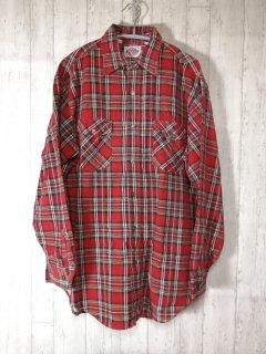 Dickies チェック柄ネルシャツ 長袖シャツ/L 赤 ディッキーズ