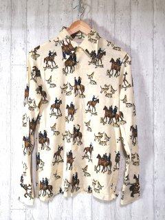 THANE 総柄レトロシャツ M 馬 犬 ベージュ 前開き