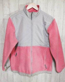 THE NORTH FACE フルジップフリースジャケット XL ピンク グレー ガールズ