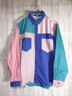 GITANO クレイジーパターンシャツ 長袖 パステル M ピンク