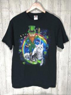 FRUIT OF THE LOOM 猫ユニコーン Tシャツ M 黒  ペイント ねこ CAT