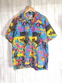 Hawaian original アロハシャツ 柄シャツ 半袖 L オープンカラー