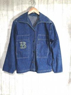 70s デニムワークジャケット スナップボタン カバーオール ダブルステッチ L 古着 ヴィンテージ
