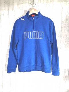 PUMA プーマ ハーフジップ ロゴ トレーナー メンズS ブルー 水色 レトロ スウェット 古着