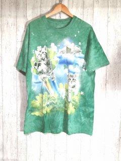 THE MOUNTAIN タイダイTシャツ 猫 メルヘン メンズL グリーン ビッグサイズ