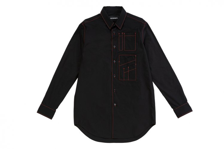 CONTRAST STITCH LONG SLEEVE OFFICER SHIRTS BLACK