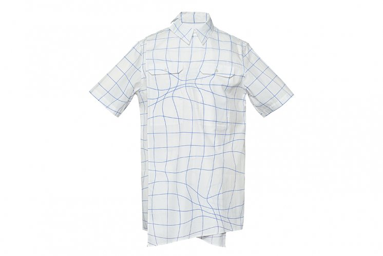 WAVE GRID CORSSOVER SHIRTS WHITE