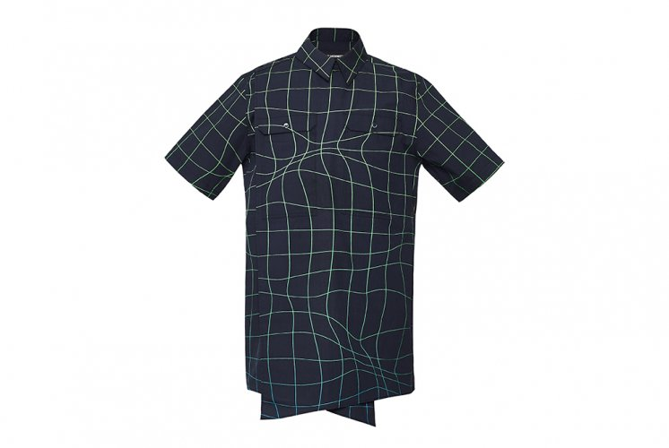 WAVE GRID CORSSOVER SHIRTS  BLACK