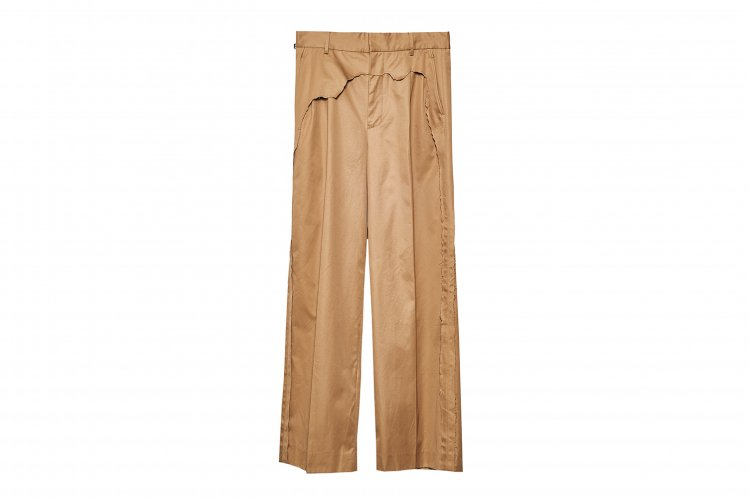LAYERED DESTROY WIDE TROUSERS CAMEL