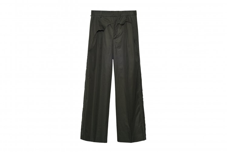 LAYERED DESTROY WIDE TROUSERS MOSSGREEN
