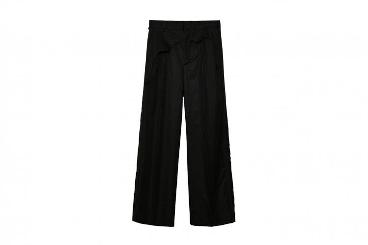 LAYERED DESTROY WIDE TROUSERS BLACK