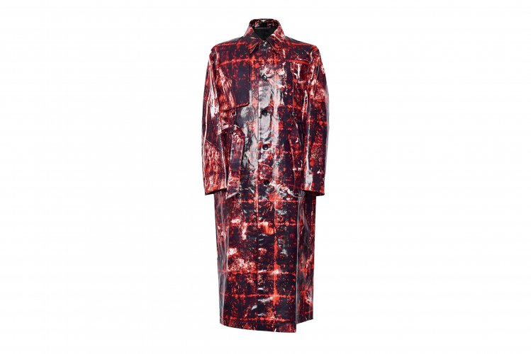 SINGLE TRENCH COAT CHAOS RED