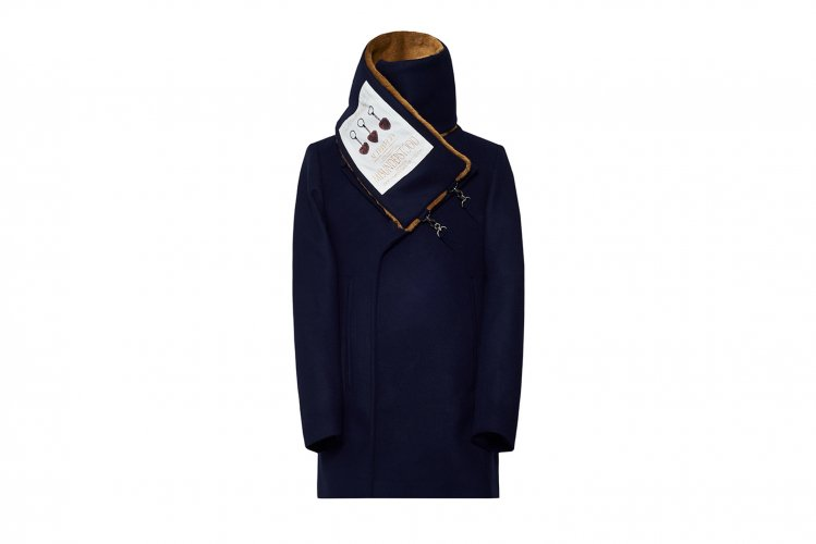 SCARF ATTACHED PEACOAT NAVY